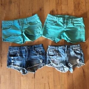 Size 0 shorts (4pack) almost brand new